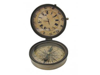 Kompas s hodinami retro Ø 8,5cm 8537