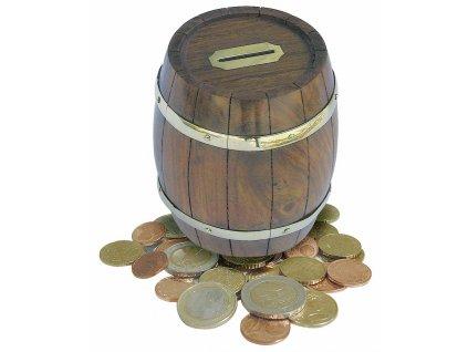 Dřevěná truhla - box kasička - námořnický sud na mince 9006