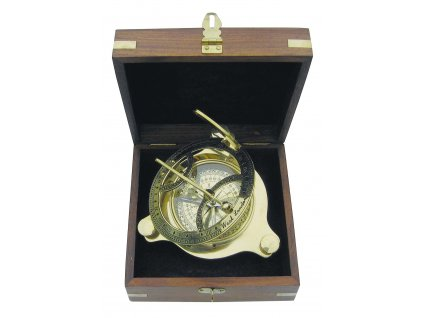 Sluneční hodiny - kompas v dřevěném boxu 11cm - sleva