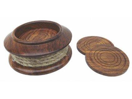 Dřevěné podtácky námořnické s lanem 9196