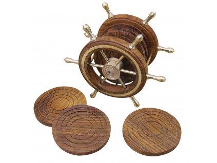 Dřevěné podtácky námořnické v zásobníku ve tvaru kormidla