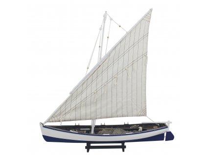Model modrého rybářského člunu 60 cm