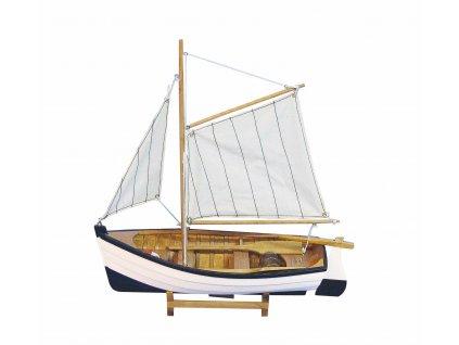Model malého rybářského člunu s pruhovanými plachtami 32 cm 5141