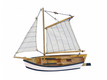 Model malého rybářského člunu s pruhovanými plachtami 25 cm