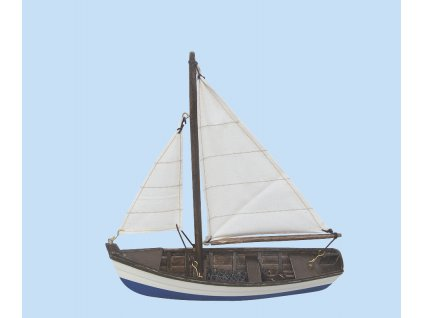 Model malého rybářského člunu s bílými plachtami 19 cm