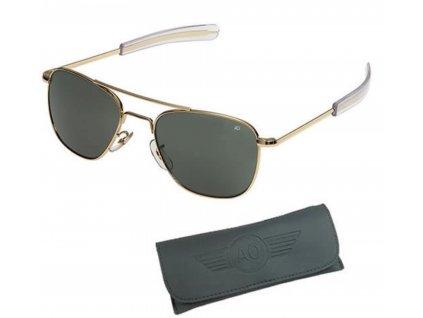 Brýle pilotní US AIR FORCE originál 55mm polarizované ZLATÉ