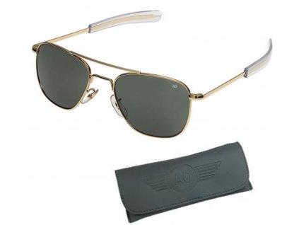 Brýle pilotní US AIR FORCE originál 55mm ZLATÉ/ŠEDÁ skla