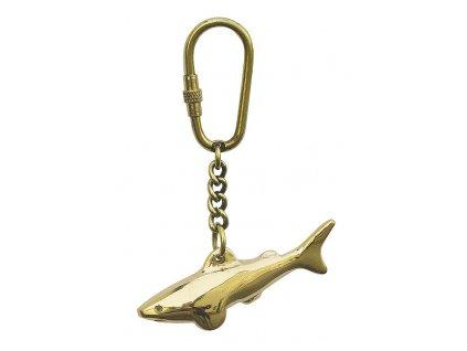 Přívěsek na klíče mosazný - žralok