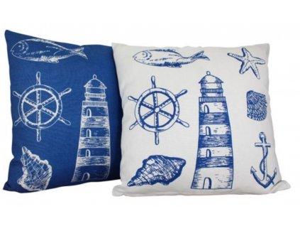 Polštář s námořnickým motivem tmavě modrý / bílý 3650