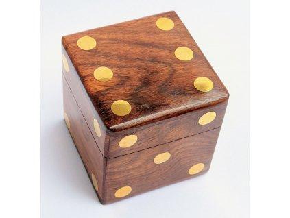 Dřevěná kostka krabička pro hrací kostky 9140