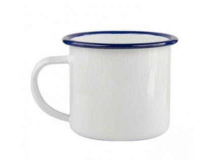Smaltovaný bílý námořnický hrnek - plecháček 300 ml (s modrým okrajem)