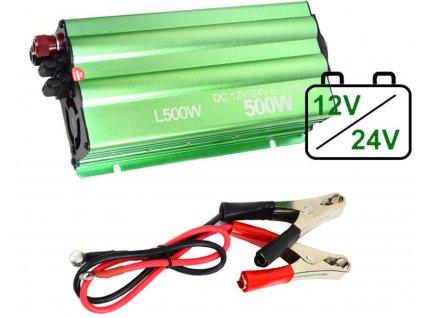 Měnič 12-24V/230V 500W (1000W) +USB 500W