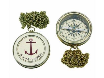 Kompas mosazný s vyrytou kotvou 6 cm