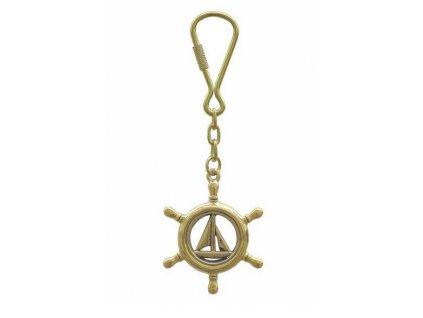 Přívěsek na klíče mosaz plachetnice kormidelní kolo