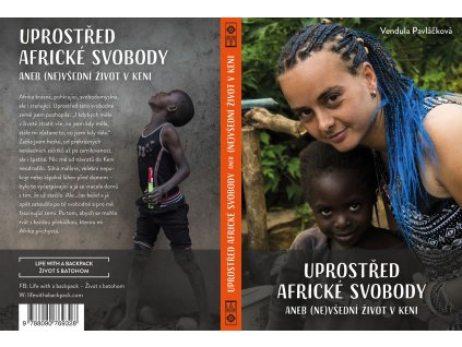 Kniha Uprostřed africké svobody (Vendula Pavláčková, 2020)  + náramek vyrobený autorkou v keňských barvách