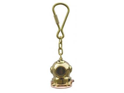 Přívěsek na klíče potápěčská helma mosaz/měď 1035