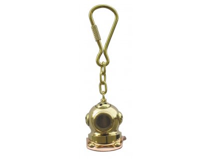 Přívěsek na klíče potápěčská helma mosaz/měď