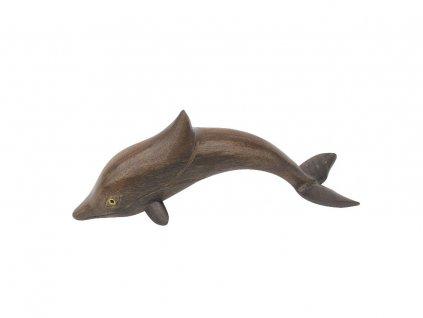 Dřevěná figurka - soška delfína 14 cm