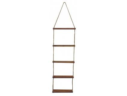 Lanový žebřík s dřevěnými stupni