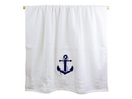 Osuška námořnická s kotvou 90 x 150 cm bílá