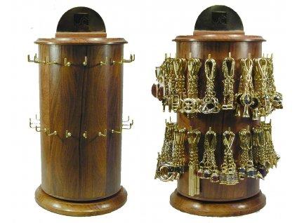Otočný dřevěný stojan na klíče / přívěsky na klíče 0999