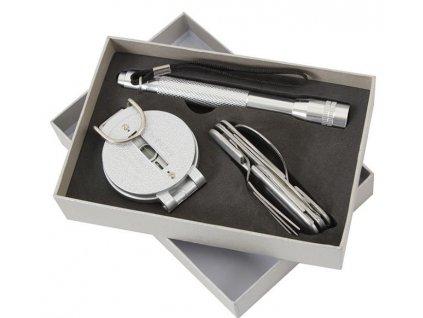 Set kompas - skládací příbor - svítilna STŘÍBRNÝ  + bílý plecháček