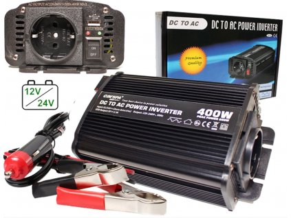 Měnič 12V-24V/230V 400W (800W) + USB
