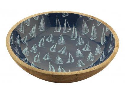 Mísa dřevěná s plachetnicemi velká