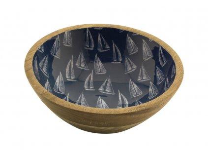 Mísa dřevěná s plachetnicemi menší