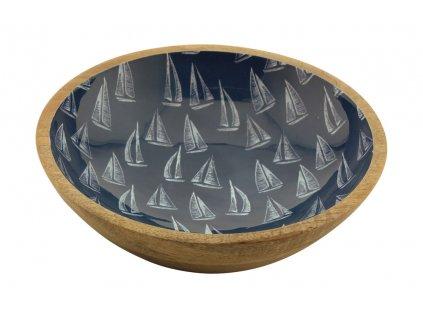 Mísa dřevěná s plachetnicemi střední