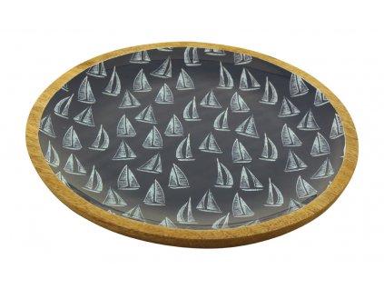 Talíř dřevěný s plachetnicemi