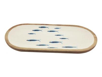 Oválný talíř dřevěný s rybkami