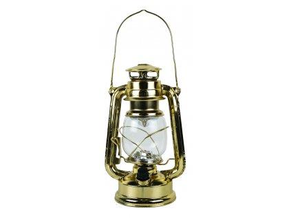 Petrolejová lampa  - petrolejka mosazná retro elektrická bateriová LED 24,5 cm 9526
