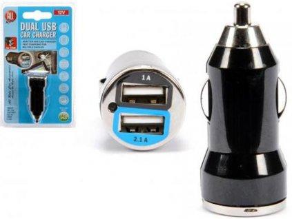 USB nabíječka dvojitá 12V 1-2,1A