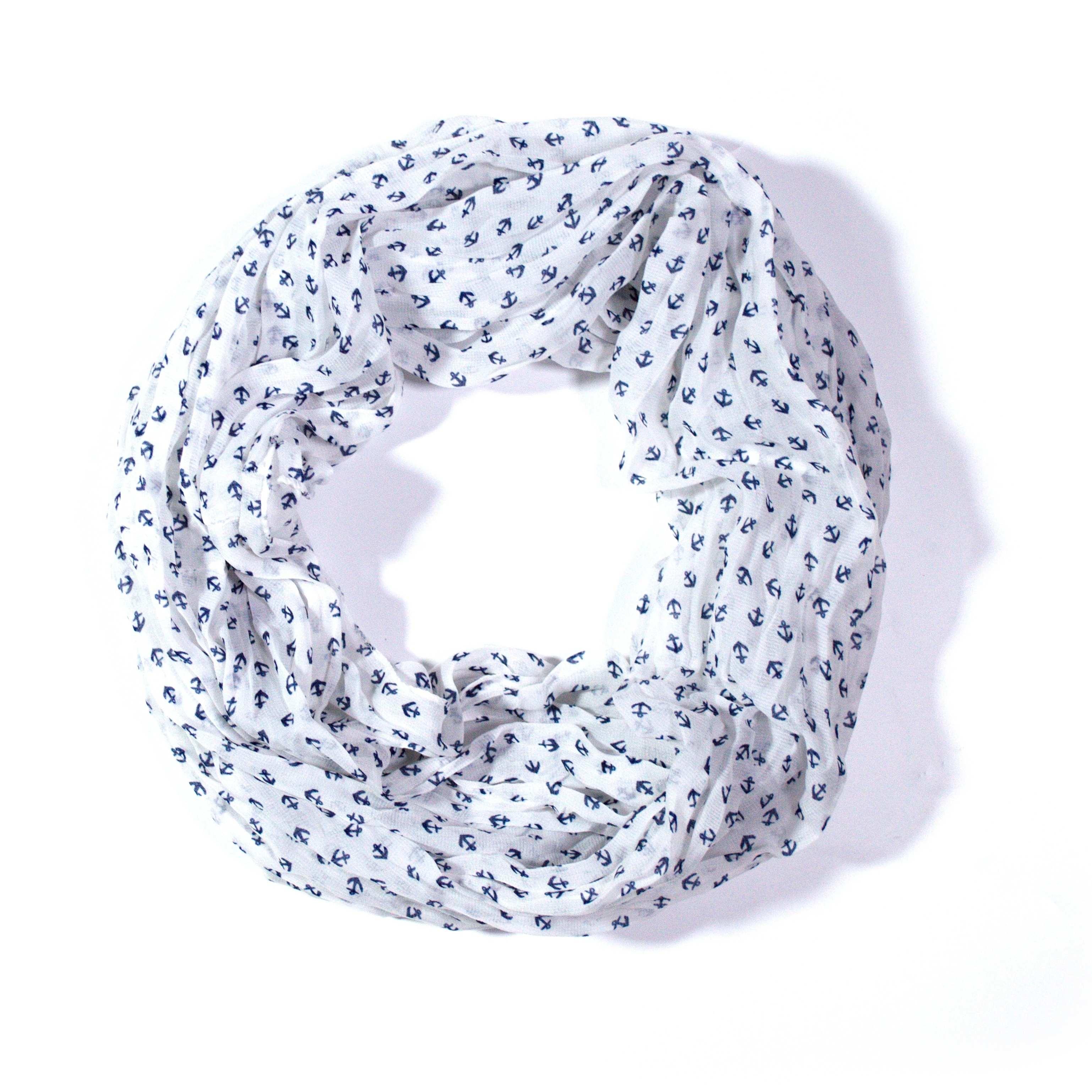 OEM Šátek námořnický lehký nekonečný XL šátek bílý 7B2 3020