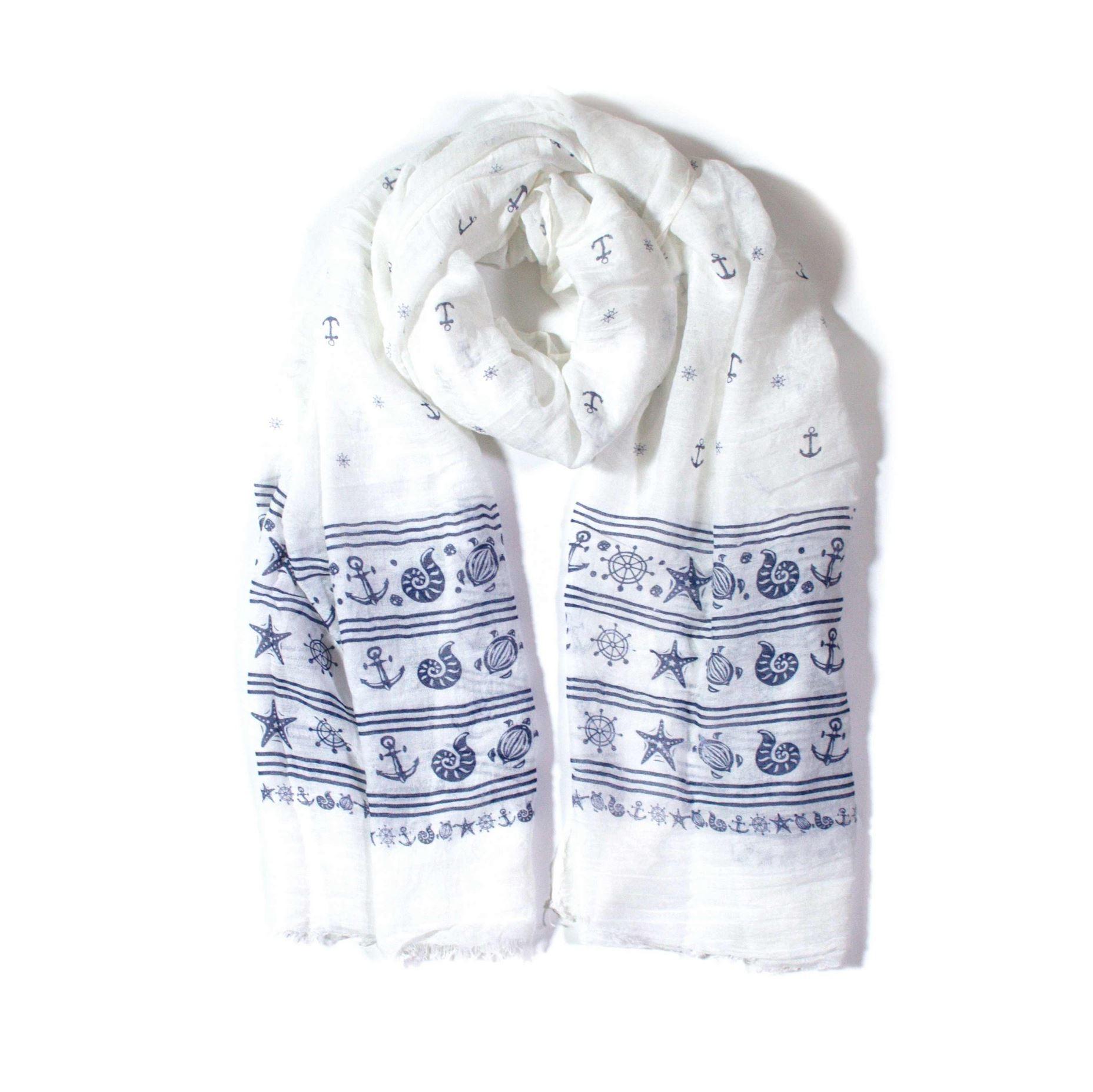 OEM Velký dlouhý šátek bílý s námořnickým vzorem 180cm*70cm 4B1-121412