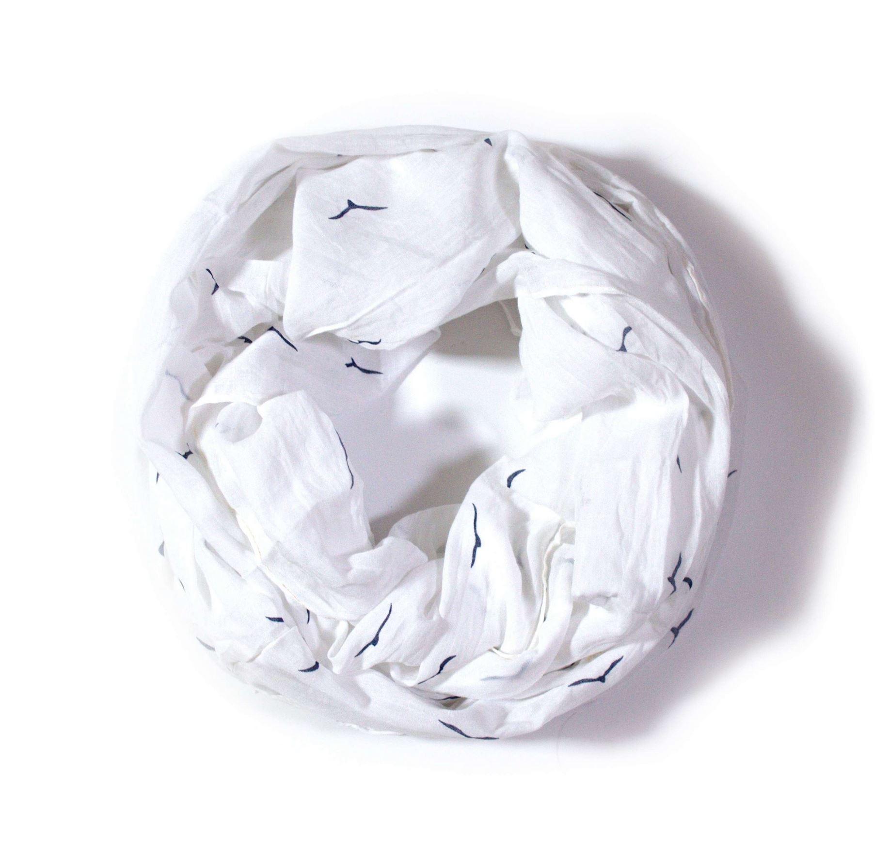 OEM Velký nekonečný šátek bílý se vzorem 170cm*70cm 4B1-121410