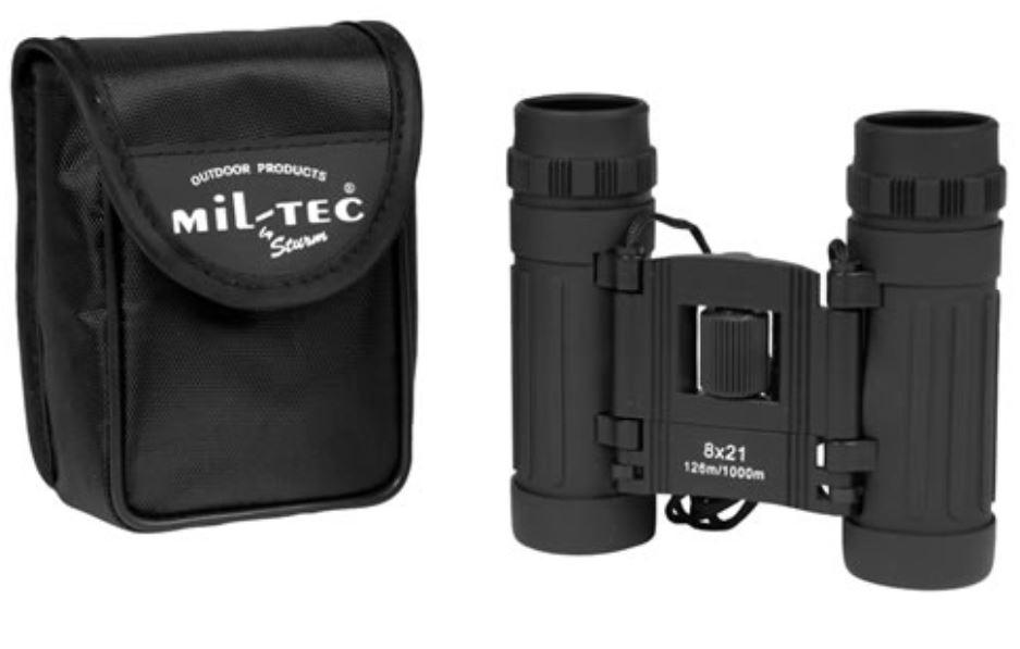 MIL-TEC Dalekohled 8x21 skládací černý Barva: Černá