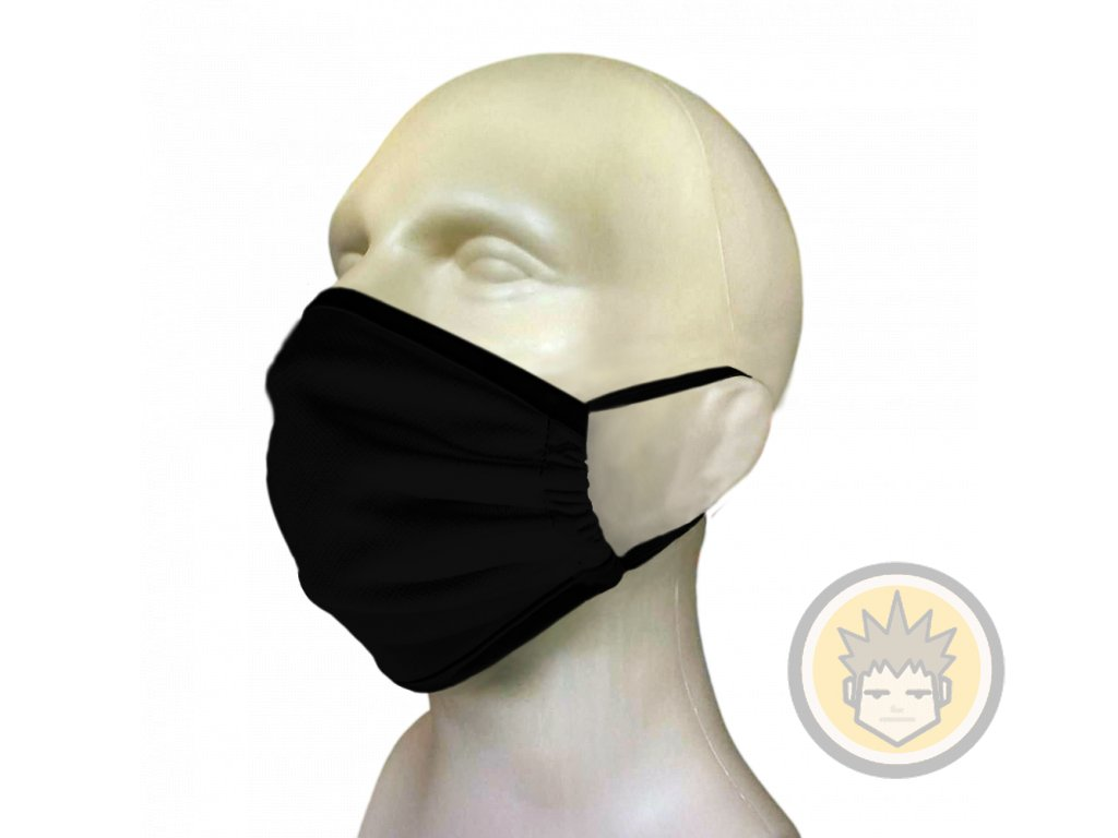 black face mask with rubber band