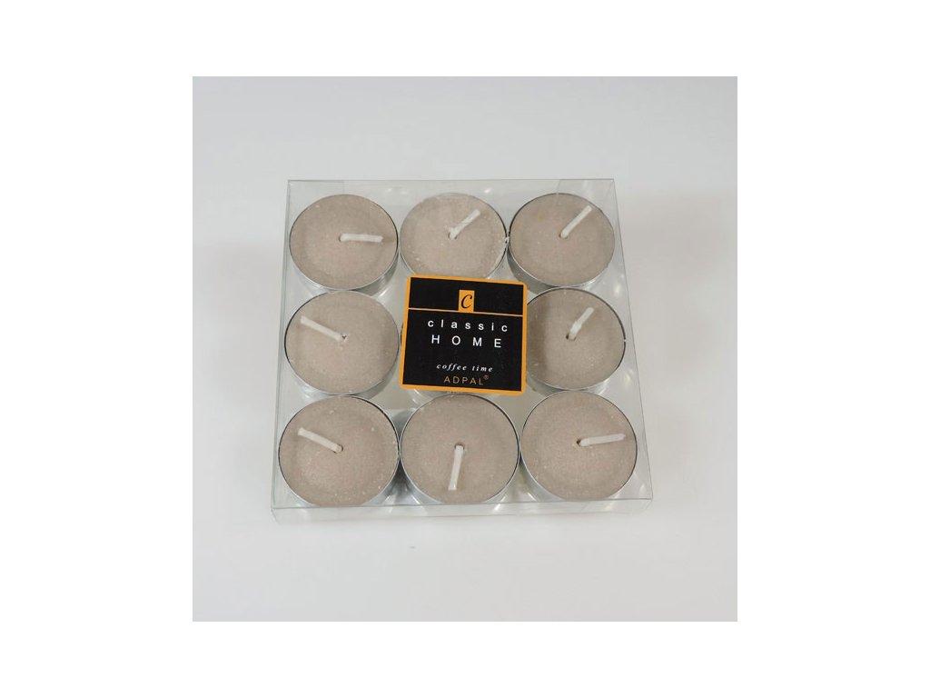 Adpal čajové svíčky Classic Home 12x38 mm 9 ks Coffee Time platinová