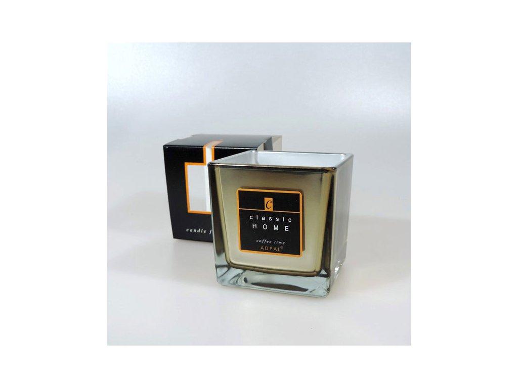 Adpal svíčka ve skle Classic Home se zrcadlovým efektem 80x80x80 mm Coffee Time platinová