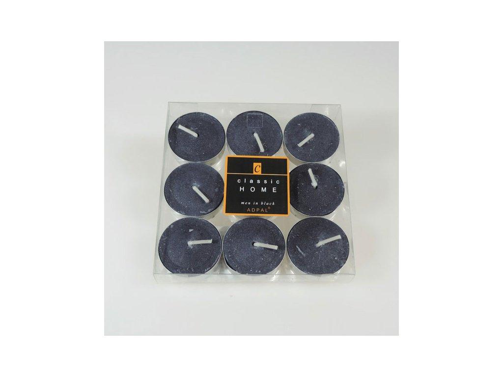 Adpal čajové svíčky Classic Home 12x38 mm 9 ks Men in Black šedá grafitová