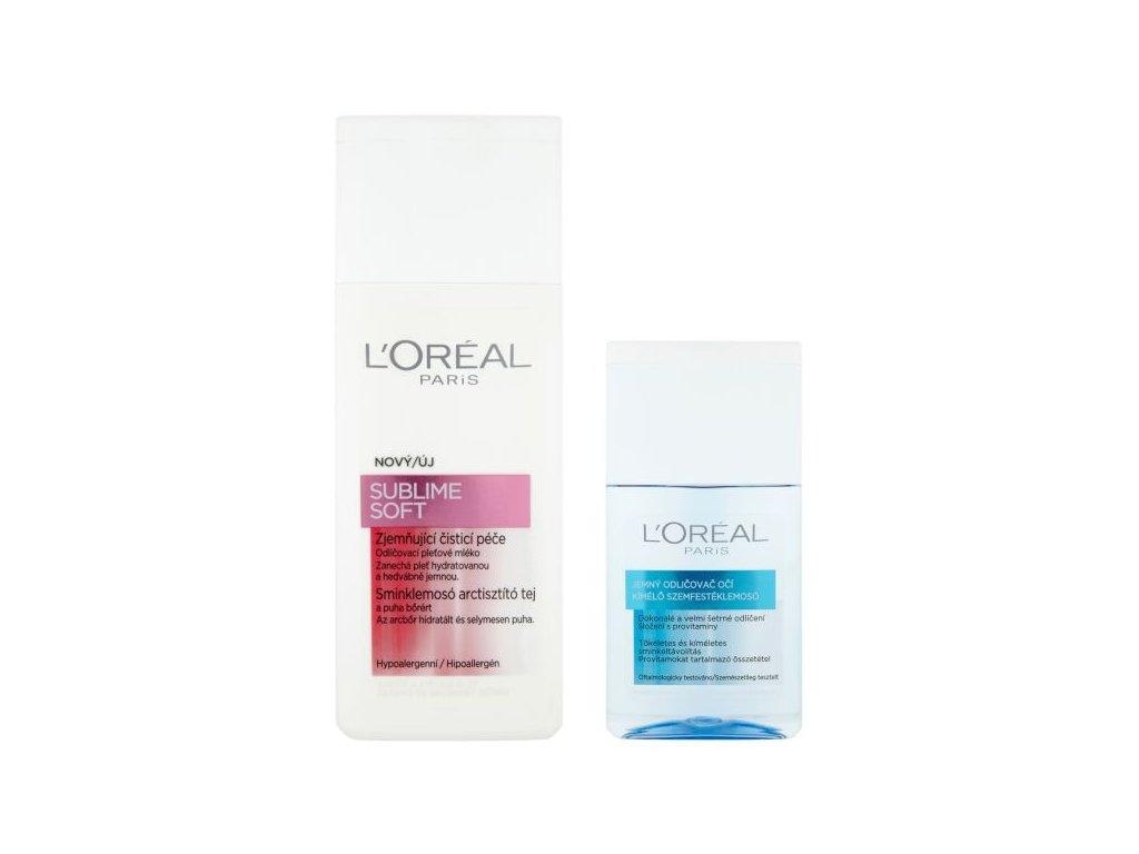 L'Oréal Paris Sublime Soft zjemňující čistící pleťové mléko 200 ml + jemný odličovač očí 125 ml