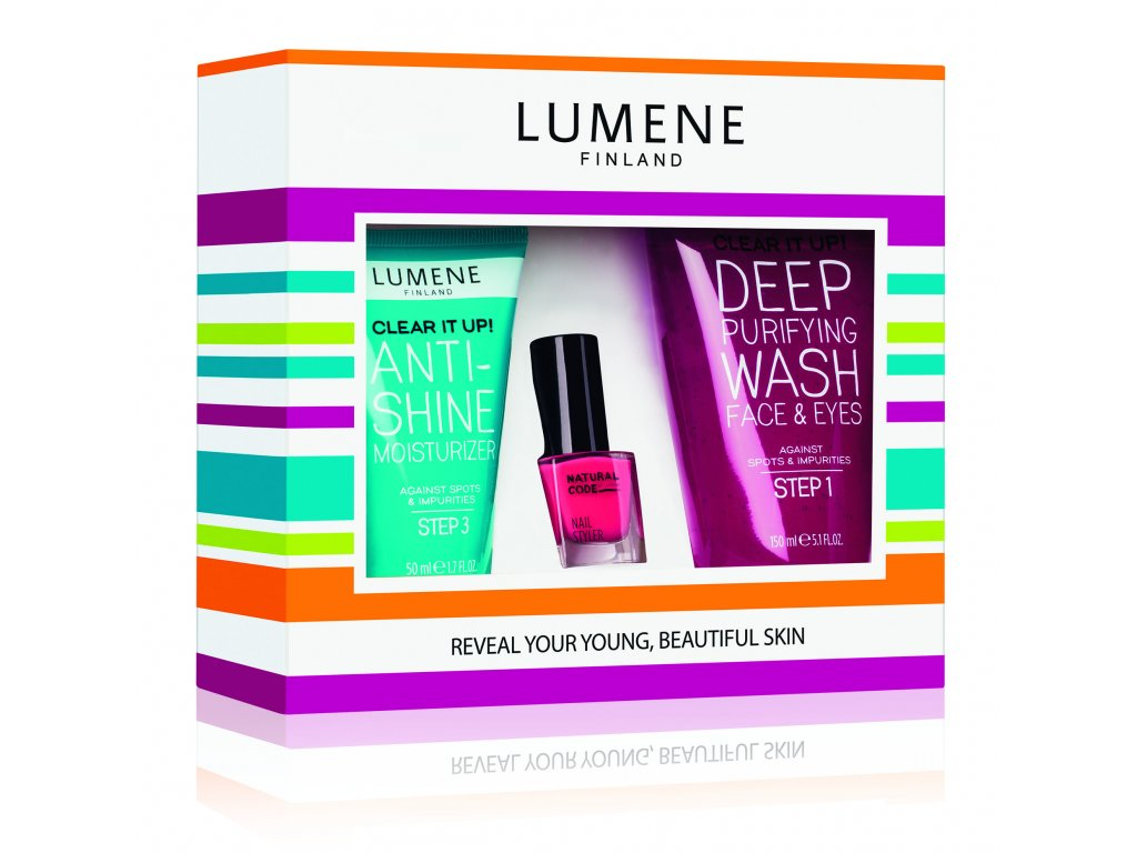Lumene Clear It Up! kosmetická sada 150 ml + 50 ml + 4,5 ml