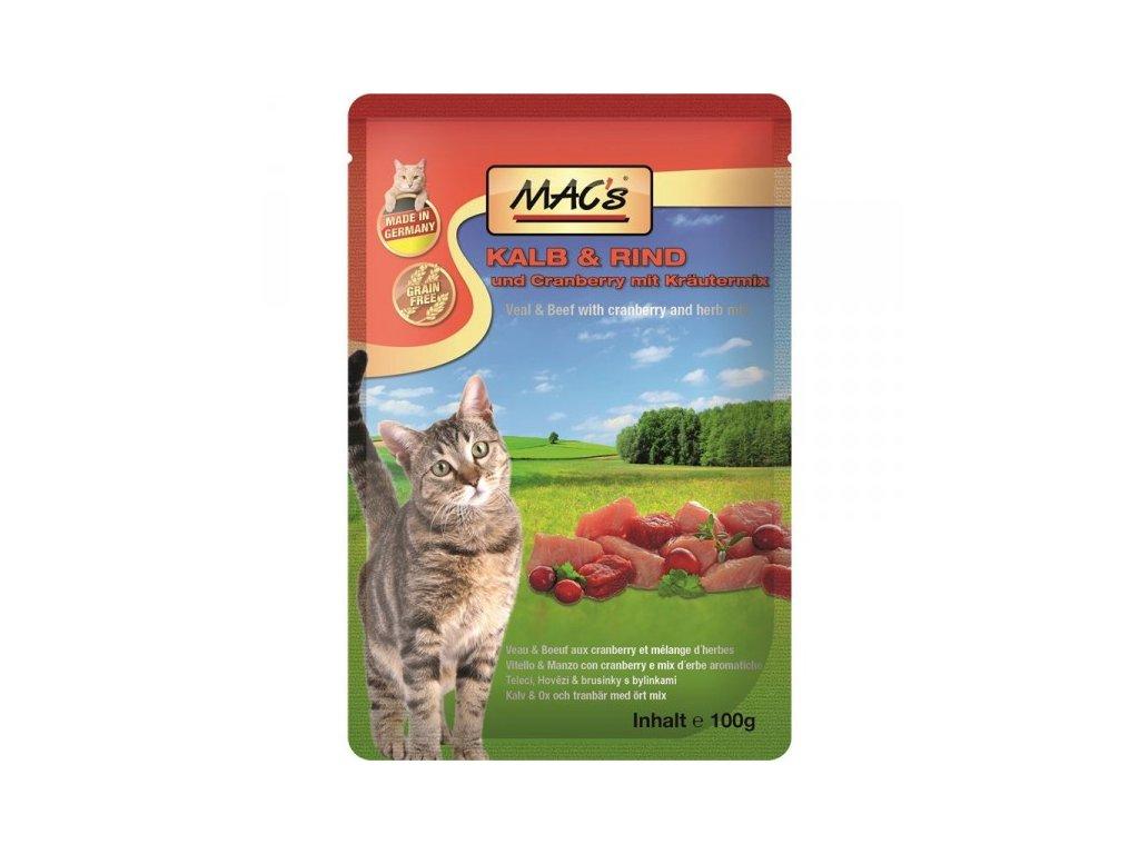 Macs Cat masová kapsička pro kočky (telecí a hovězí s brusinkami)