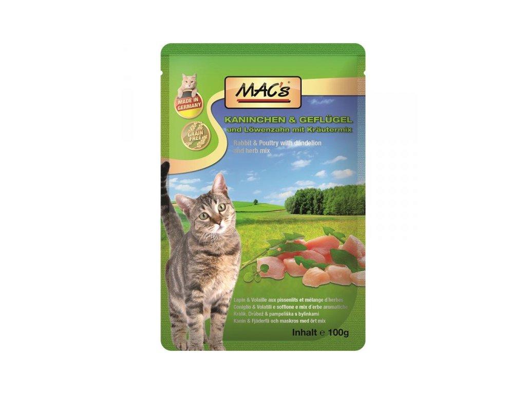 Macs Cat masová kapsička pro kočky (králičí a drůbeží s pampeliškou)