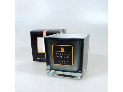 Adpal svíčka ve skle Classic Home se zrcadlovým efektem 80x80x80 mm Men in Black šedá grafitová