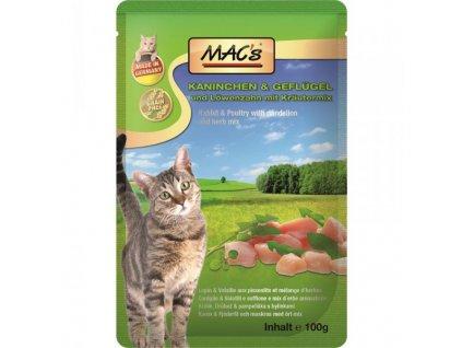 Macs Cat masová kapsička pro kočky (králičí a drůbeží s pampeliškou), exp. 7/2020