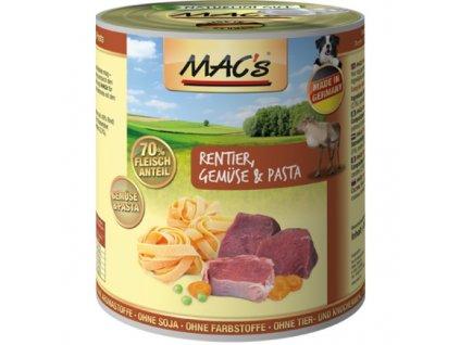 Macs Dog masová konzerva pro psy (sobí se zeleninou a těstovinami), exp. 5/20
