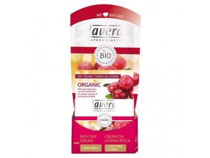 Lavera Vyživující denní krém bio brusinka & bio arganový olej 30 ml + Tělové mléko 20 ml ZDARMA